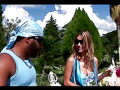 Interracial sex outdoors for the blonde Bianca Melo