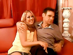 Horny blonde's fucked and splattered by cum