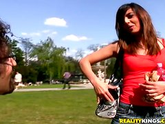 Slender European babe gets dicked by two men