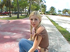 A messy facial for a blonde teen after being fucked by a monster cock