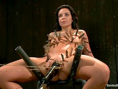 Aria Aspen enjoys having leads on her tits and pegs on her body