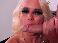 Spicy Annika is giving a professional blowjob