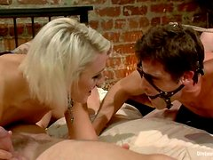 Two hot mistresses enjoy torturing two dudes in BDSL foursome