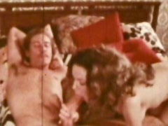 Brunette with a hairy pussy gives a handjob and gets nailed
