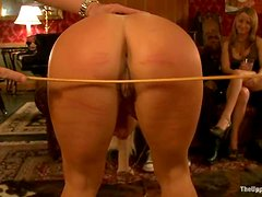 Blonde chick gets whipped, sucks a dildo and gets fucked