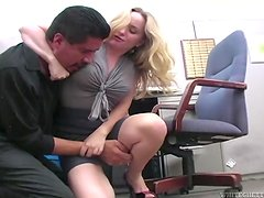 Chubby blonde MILF gets armpit fucked in an office