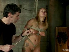 Blond booty gets hogtied and fucked with a machine