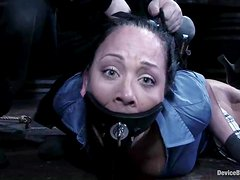 Julie Night gets gagged and then drilled by a machine