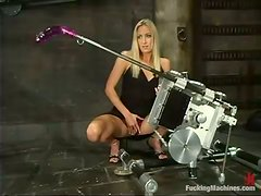 Angel Long moans joyfully while being fucked by a sex machine