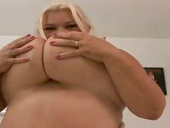 Huge-breasted blonde granny Linda fucks a long-haired stud