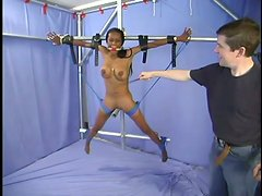Poor ebony babe is being fucked in the BDSM