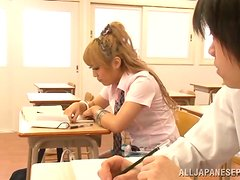 Hot double penetration with Megu Hazuki in the classroom
