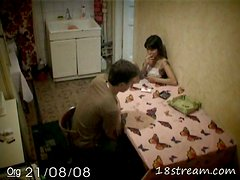 Brunette Teen Getting Fucked on the Kitchen's Table in Hidden Cam Vid
