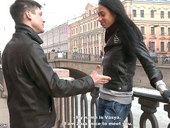 European Brunette Amateur Gets Picked Up and Fucked Hard in Reality Vid