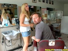 Booty hairdresser is getting a huge cock of her client