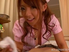 Cute Japanese in nurse uniform rides a dick in POV video