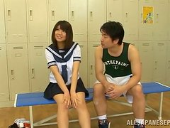 Perversions in the locker room with a lusty Japanese girl