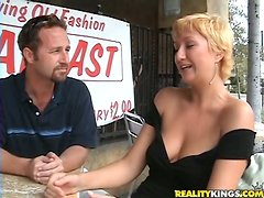 Anya the short-haired MILF fucks a guy passionately