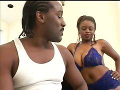 Big Titted Ebony Sucks And Fucks Doggystyle And Cowgirl