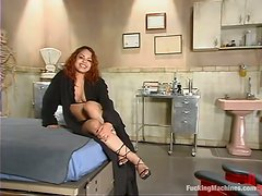 Redhead babe Victoria Sweet gets her vag slammed by a sex machine