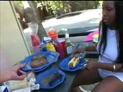Ebony Slut With Perfect Ass Is Fucked In The Nature