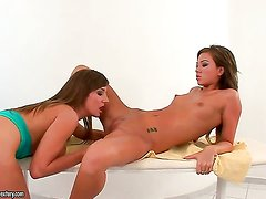 Brunette Natalia Forrest is in the mood for pussy