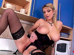 Sensual and arousing blonde honey in black lingerie and heels Katarina enjoys in stripping, teasing