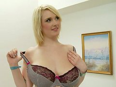 Big breasted blondie gets her muff fucked in missionary position
