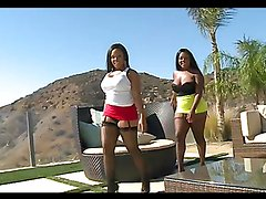 Threesome fun with the ebony babe Jayden Starr and her girlfriend