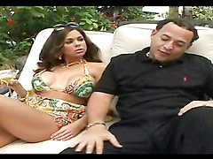 Dude shoots creamy load on chick's big tits