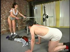 Bitchy siren Kym Wilde is dominating over male slave