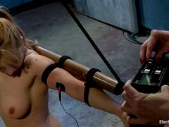 Electric Torture in Bondage Lesbian Femdom Video for Lea Lexis