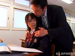 Asian School Girl Ruka Kanae Getting Fucked by Her Teacher in Class