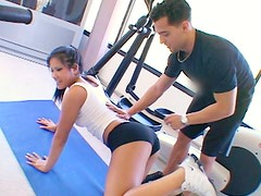 Sporty brunette is making love with her fitness instructor
