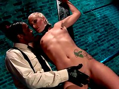 Tattooed master ties up sexy blonde and teases her pussy