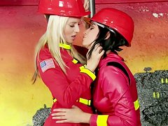 Feisty babe Cindy Dollar is having passionate lesbian sex wearing fireman costume