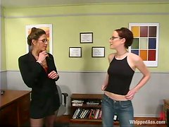 Girl In Glasses Spanked and Strapon Fucked in Lesbian Femdom Vid