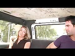 Kinky blonde's nailed by a hard cock in the bang bus