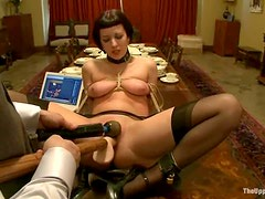Tied up Cherry Torn gets her pussy toyed by her master