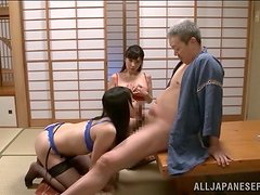 Horny old fart is enjoying the company of two sexy Asian whores