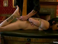 Slim Asphyxia Noir gets tied up and toyed with a vibrator