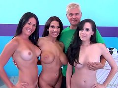 Amazing big-breasted brunettes share a lucky dude's hard cock