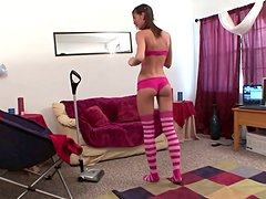 Sexy brunette Brooke Skye cleans the apartment with a vacuum cleaner