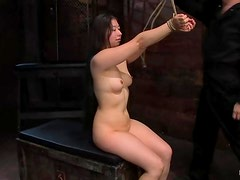 Moriel the bound Asian chick gets her shaved pussy toyed