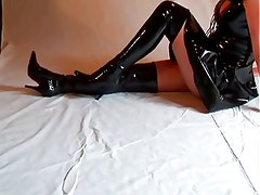 Angie in Black High Thigh PVC Boots