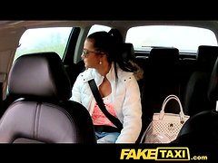 Busty sex doll is going to fuck a taxi driver