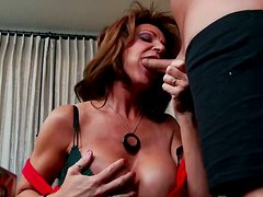 Torrid mom Deauxma with huge boobs is riding hard stick on top