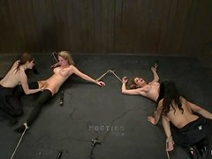 Two bound girls get toyed and dominated by two other chicks