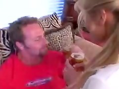 Slutty Lauren rides big cock after drinking beer