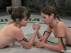 Amber Rayne and Bobbi Starr beat each other and have lesbian fun